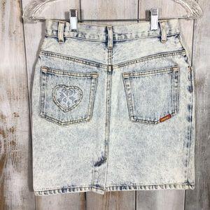 Vintage Jordache Embellished Acid Wash Mini Skirt